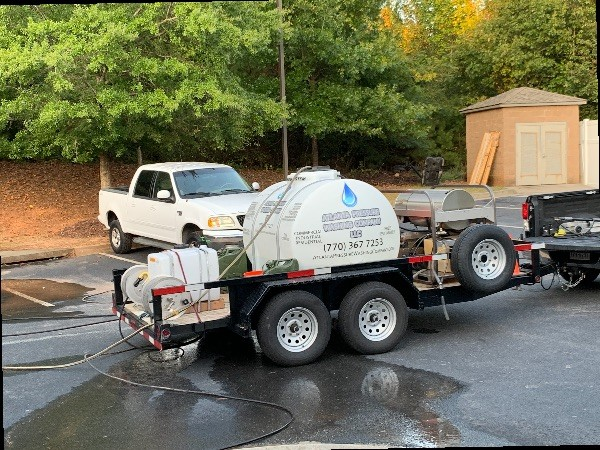 Commercial residential hot water pressure washer on trailer