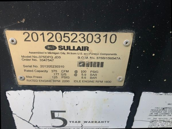 2012 Sullair 375 S# 201205230310